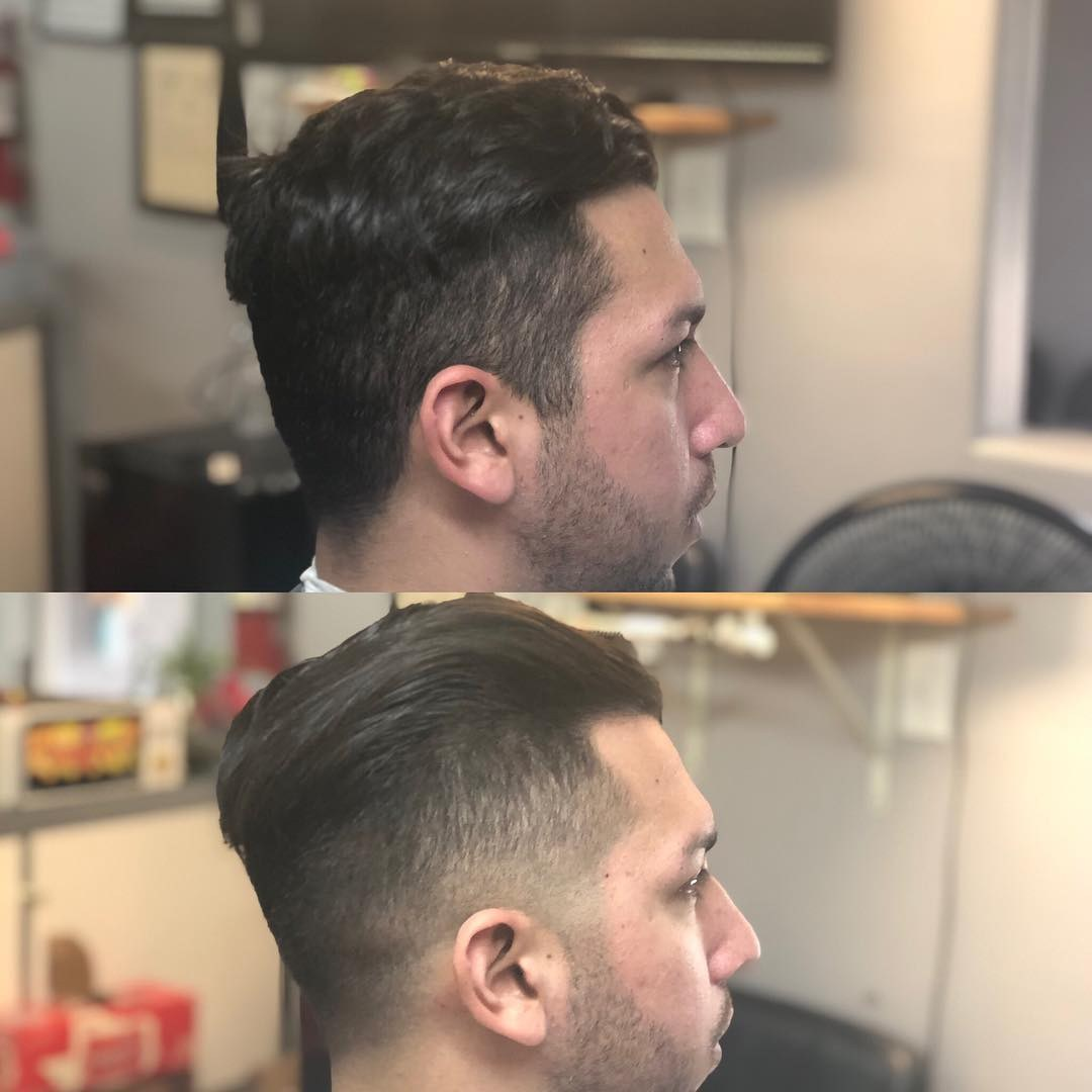 man before and after relaxing his hair