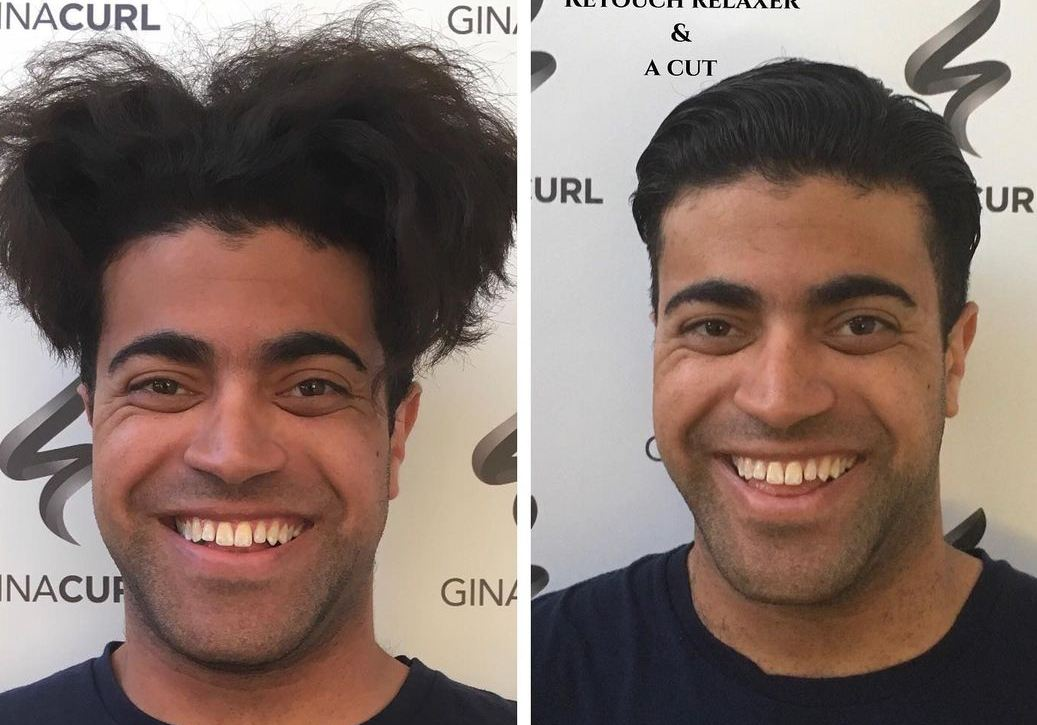 man before and after using hair relaxer
