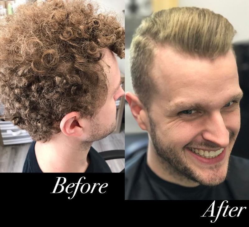 relaxed men's hair before and after