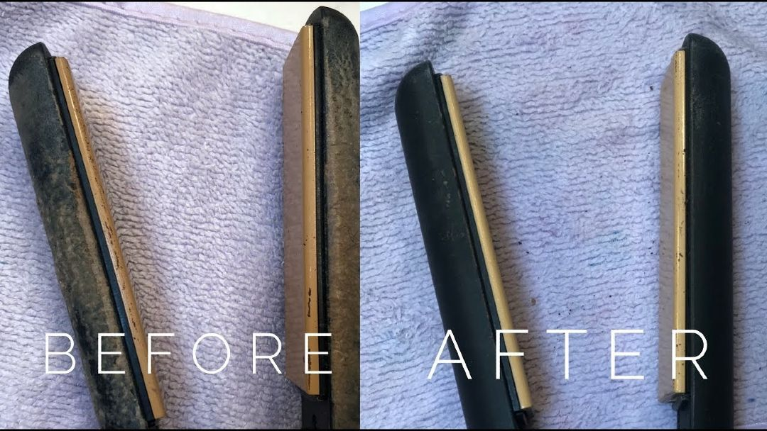 cleaning a flat iron, before and after