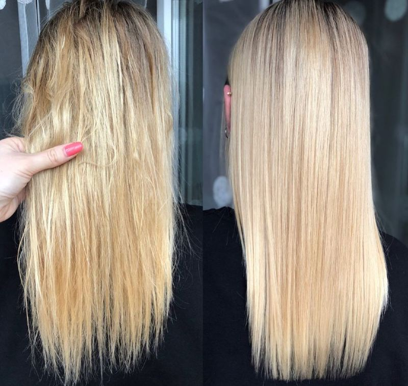 Keratin hair straightening before and after