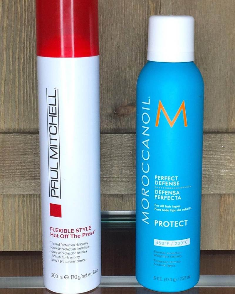 heat protectants from paul mitchel and moroccanoil