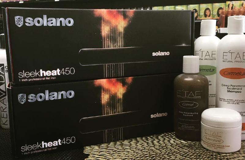 solano sleekheat with etae hair care line