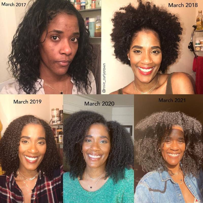Hair transitioning journey of lovely @rosie_curlycrown