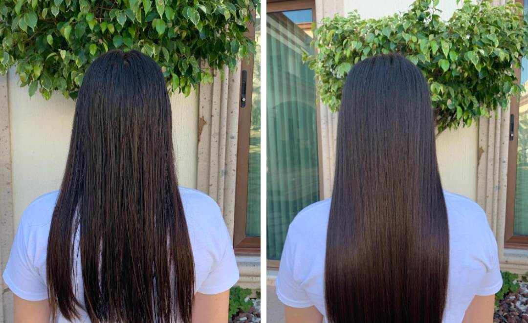 wet-to-dry flat iron results before eand after