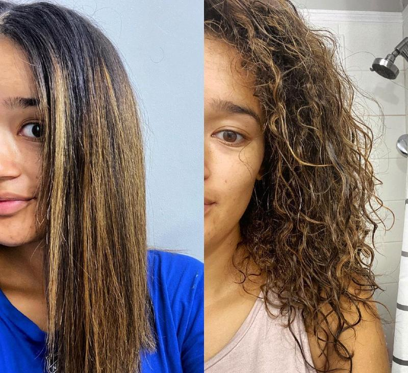 wet hair before and after straightening with flat iron