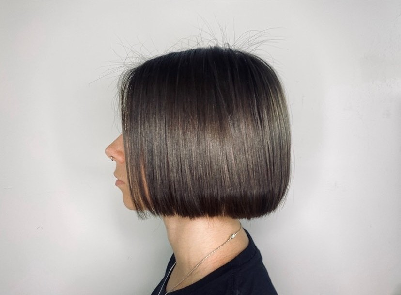 short hair styled with flat iron