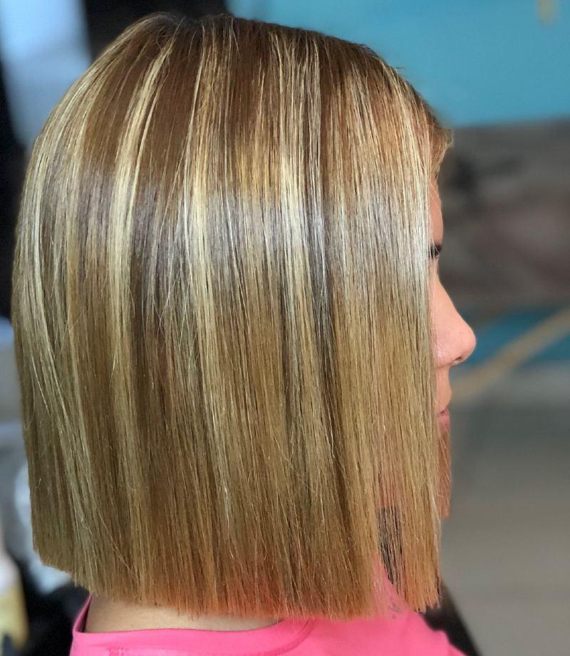 short straightened hair