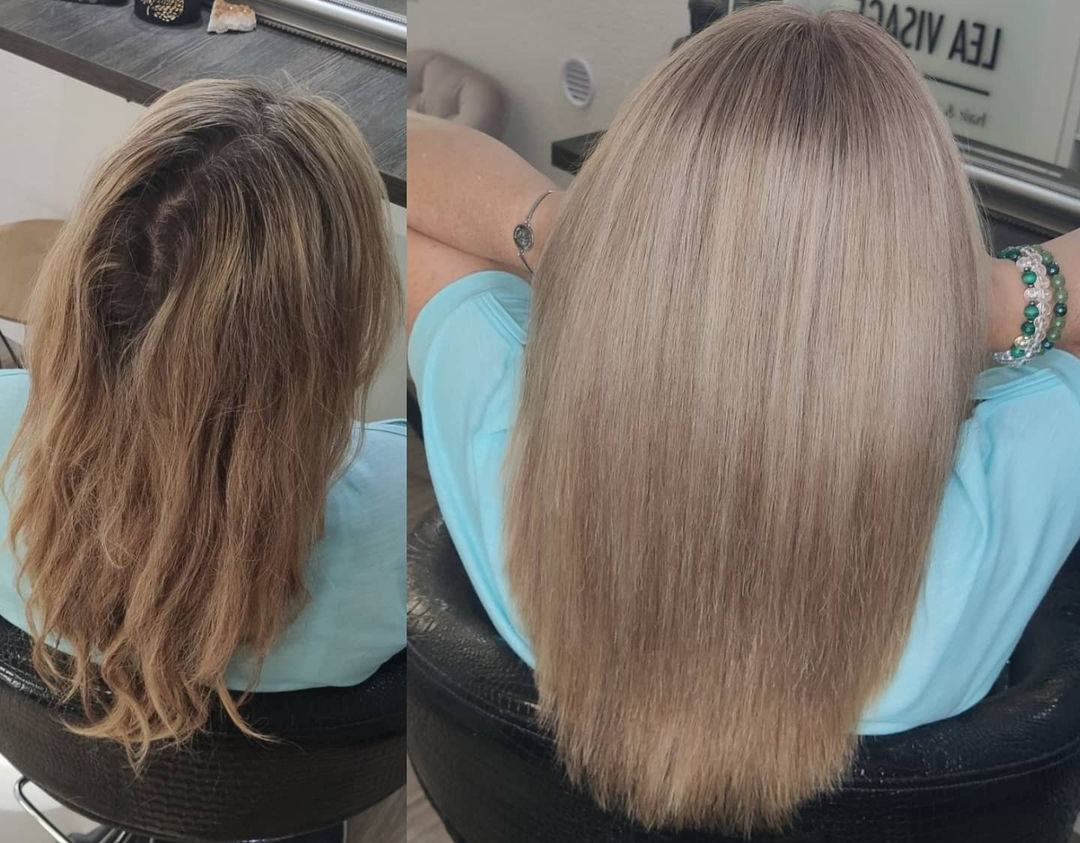 steam straightener before and after