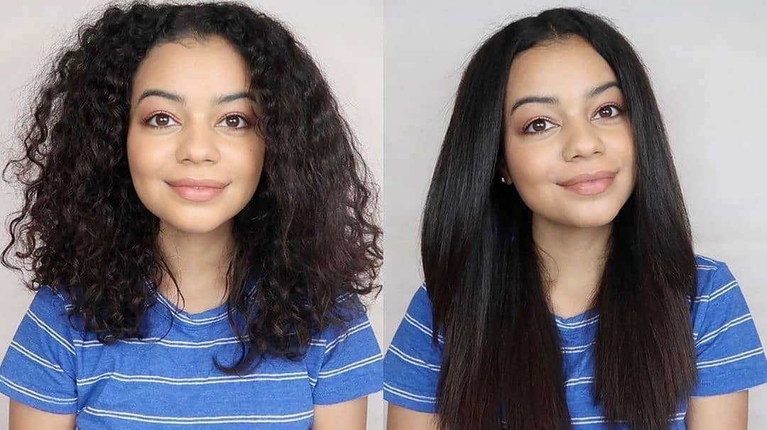 hair before and after using a flat iron with comb